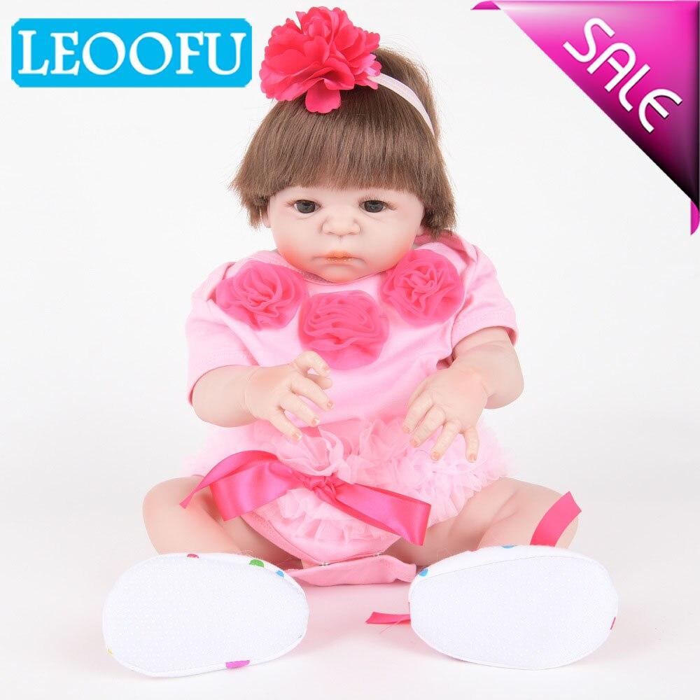 LEOOFU 55 cm 22 pouces reborn bébés complet Silicone réaliste garçon fille corps bébé poupées avec les yeux fermés enfants de couchage jouet bébé cadeaux