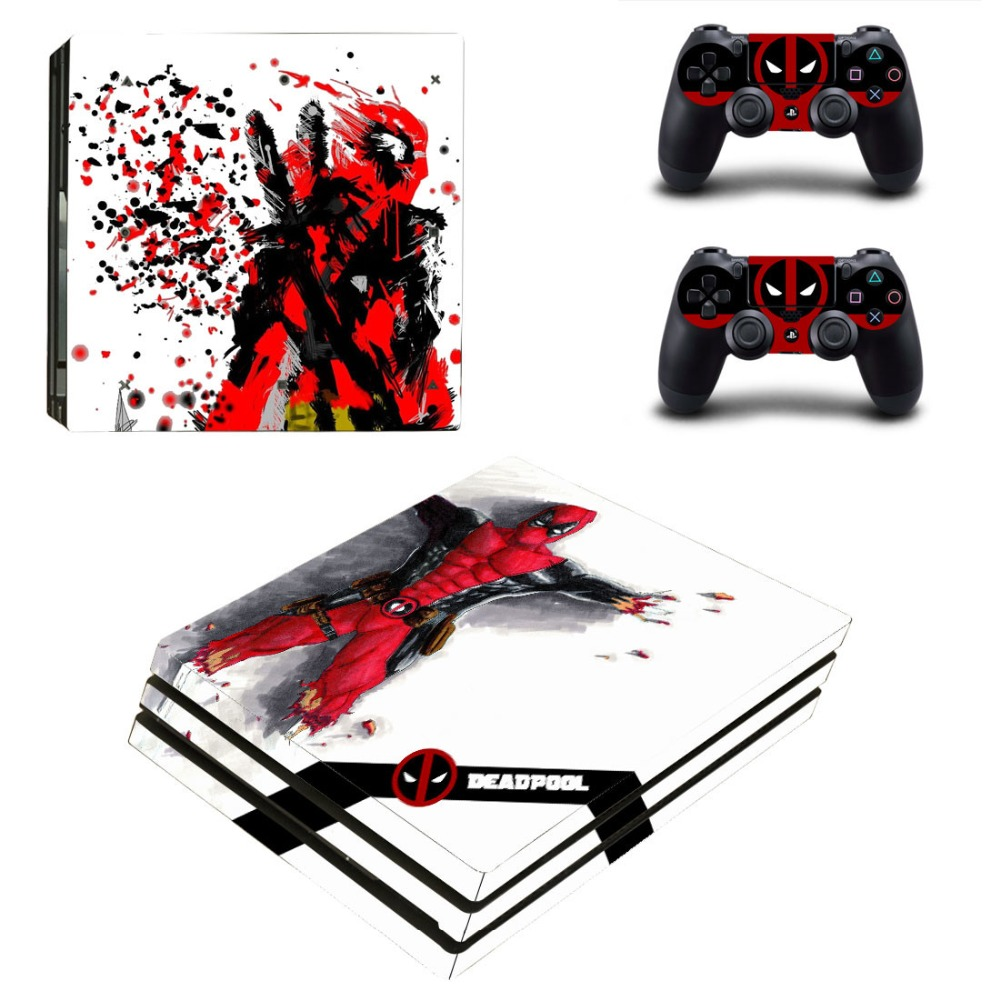 Deadpool Vinyl Ps4 PRO Console Skin Decal Sticker + 2 Controller Skins Set For Sony Playstation 4 Pro Console&Controllers