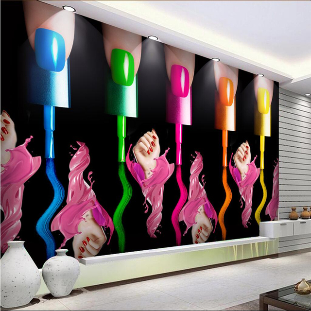 beibehang Customize any size wallpaper fresco nail make-up nail polish arm cosmetics shop tooling background wall wallpaper 3d