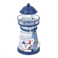 1pcs 13.5cm Hand Painted Lighthouse Model Nautical Fish Net Shell Buoy Print Candle Holder Home Party Decor