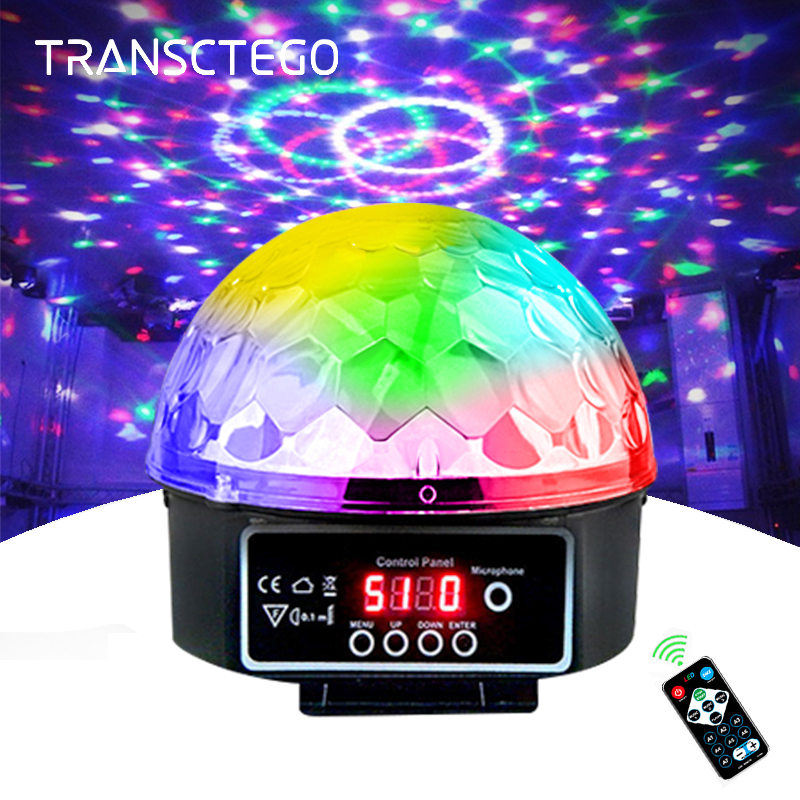 Vaihevalolamppu Led Disco Light Laser 9 väriä 21 moodia DMX DJ Sound Party Party Kevyt Joulu Projektorin äänivalot Led Disco Ball Light