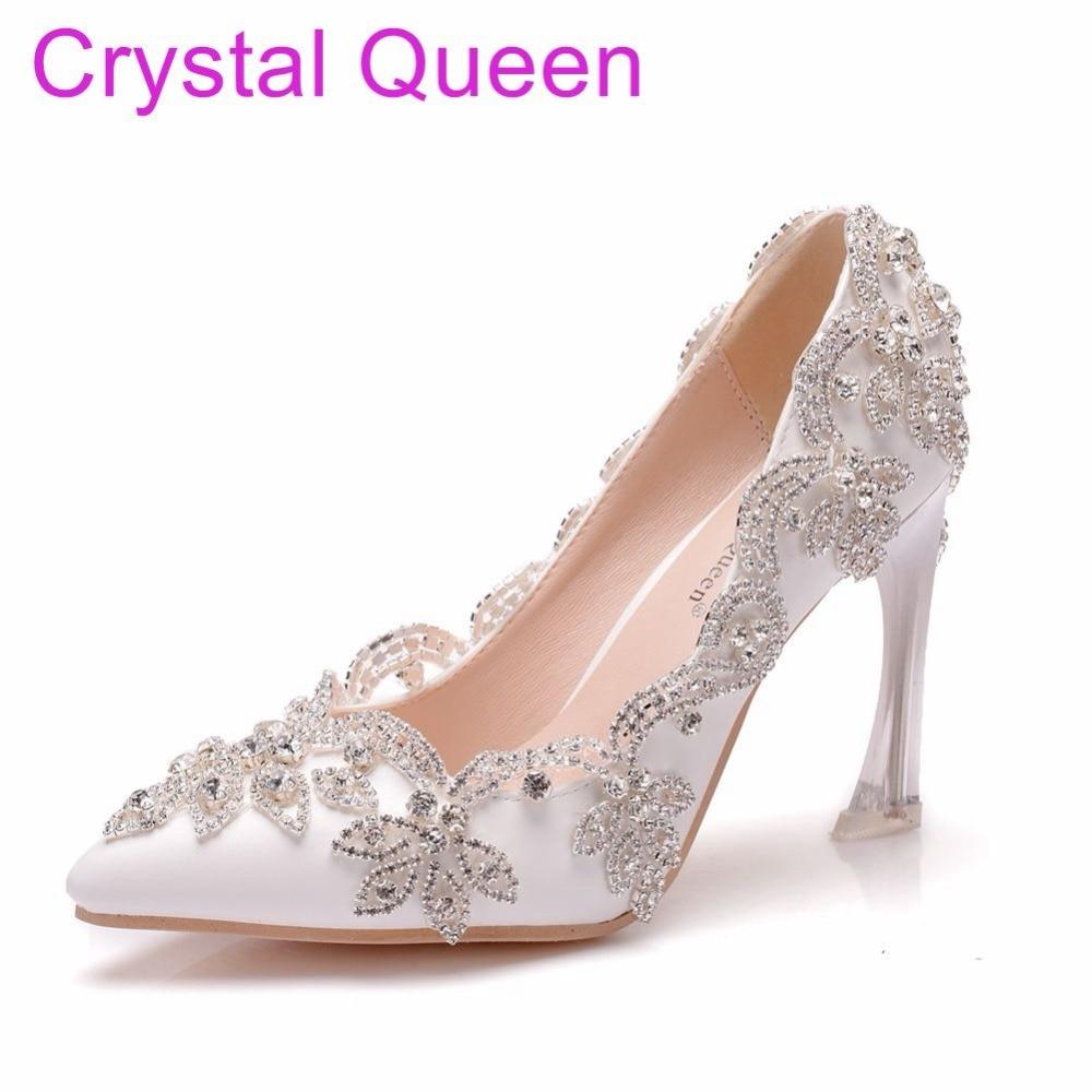 Crystal Queen 9CM Crystal Heels Pointed Toe High Heels Pumps Rhinestone Bridal Wedding Shoes Pearls Party