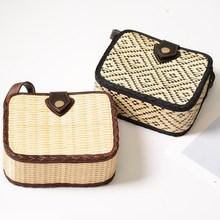 2019 New rattan straw Shoulder Bag Women hand-woven Messenger Summer Beach Square box Straw Handbag For lady Bolsa Feminina