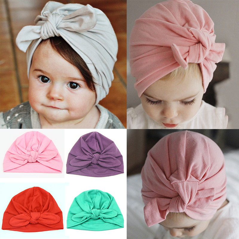 1PC Newborn Toddler Kids Baby Girl Boy Rabbit Bow Knot Turban Beanie Hat Cap