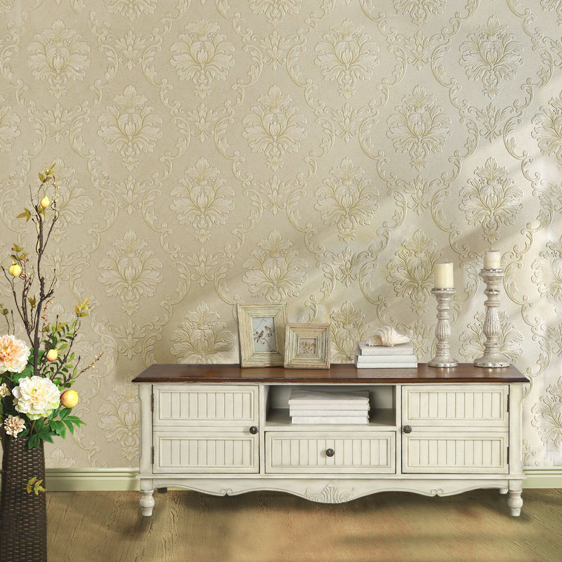 beibehang classic luxury non - woven wallpaper high - end bedroom living room backdrop 3D stereo boutique embossed wall paper