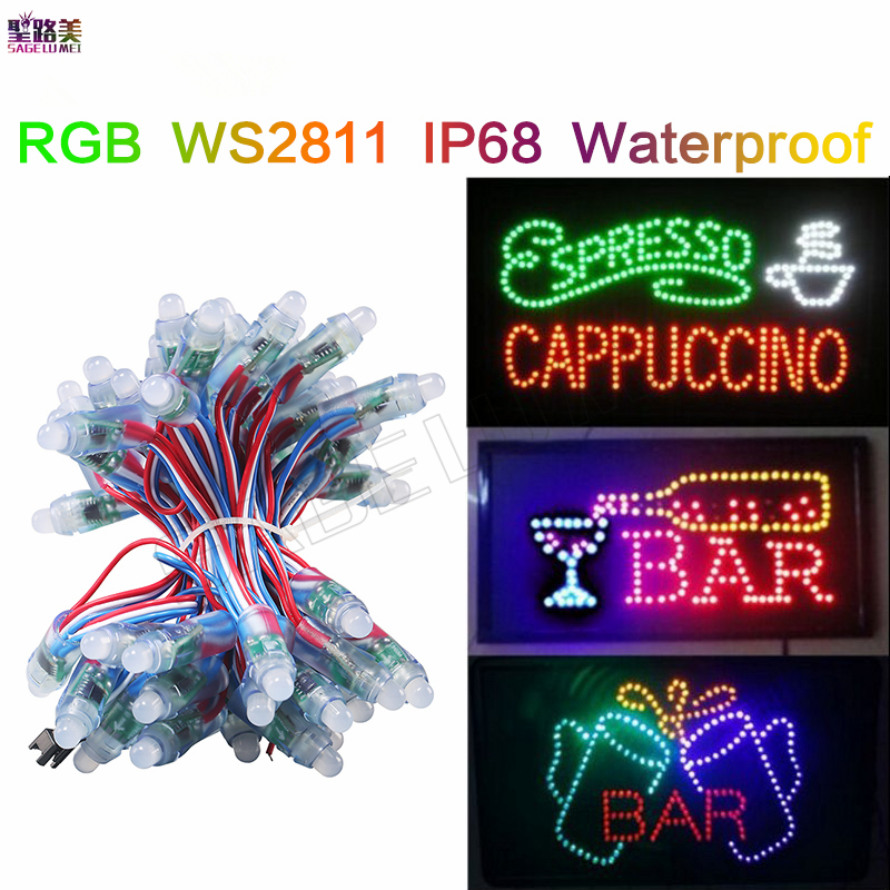 free shipping DC5V 12mm WS2811IC led pixel module Digital Full Color RGB Independently addressable String lights waterproof IP68