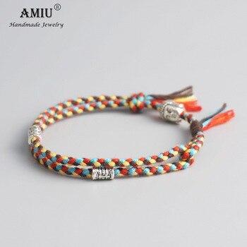 AMIU Tibetan Buddhist Lucky Woven Amulet Tibetan Cord Bracelets & Bangles Handmade 1