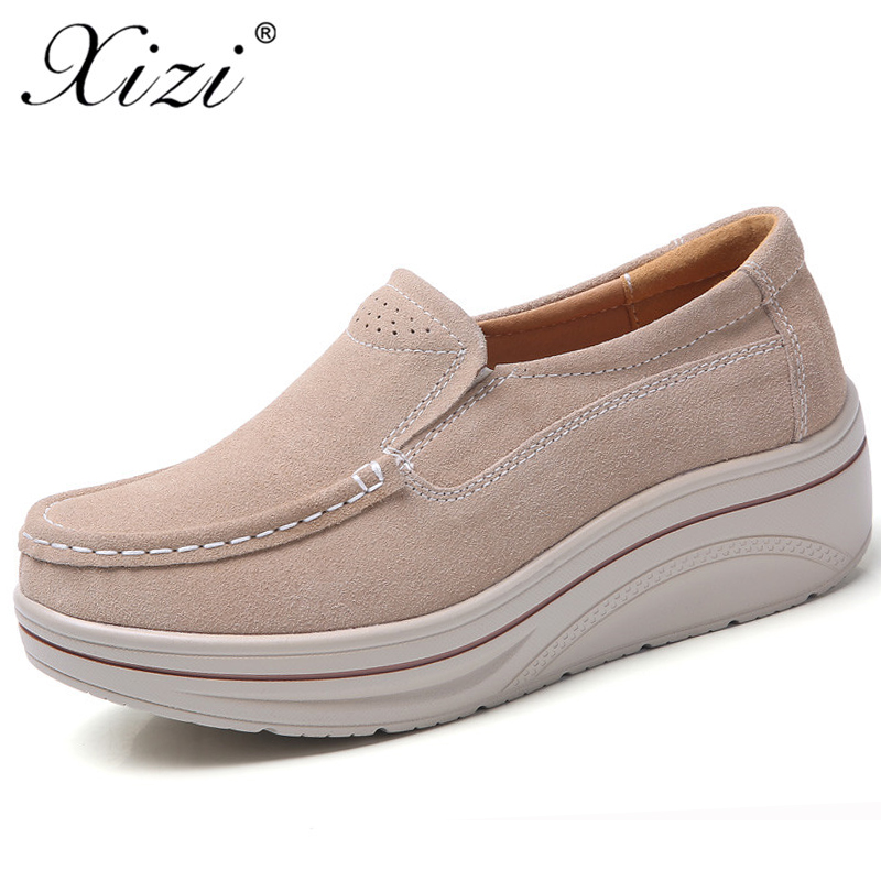 Xizi 2018 New Autumn Women Slip on Flats Shoes Solid Ladies Platform Sneakers Shoes   Leather     Suede   Casual Creepers Moccasins Shoe