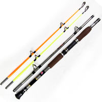 Two Rod Tips Hard and Soft Carbon Fiber Boat Fishing Rod Super Hard Telescopic Fishing Rods Sea Pole Fishing Tackle 1.8/2.1/2.4m
