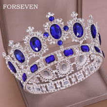 Luxurious Crystal Tiara Crowns Queen Head Jewelry Round Crown For Bridal Crystal Tiara Hair Accessories Wedding Hair Jewelry(China)
