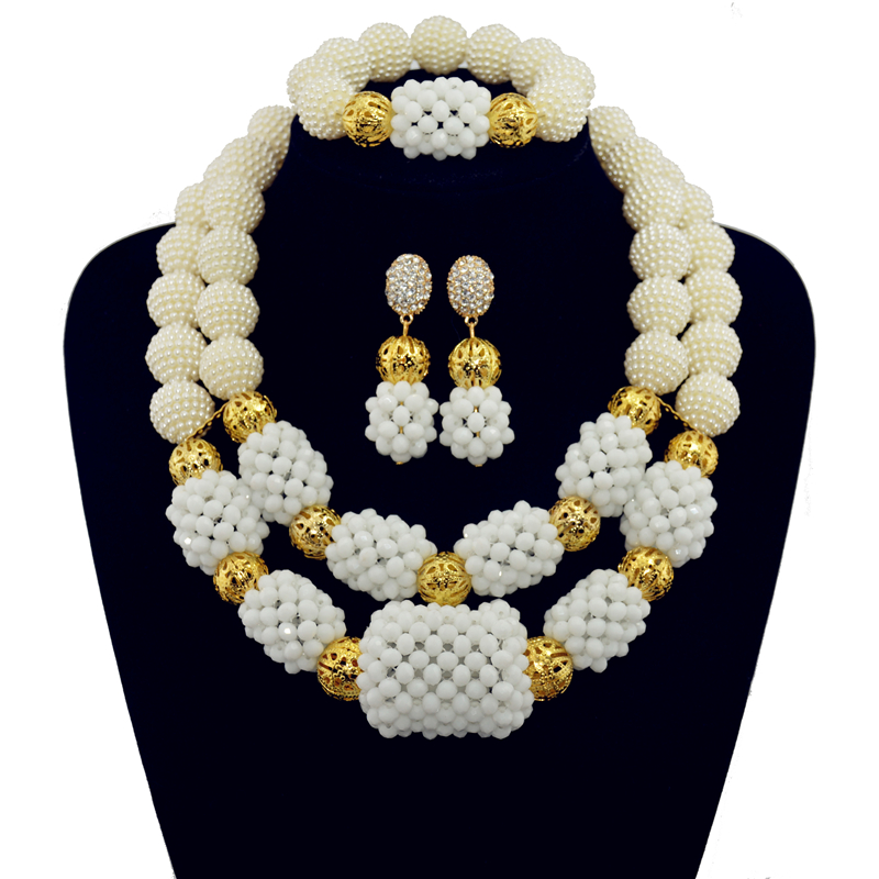 2017 nouveauté blanc nigérian plaqué or bijoux ensembles cristal perles collier ensemble nigérian africain mariage perles ensembles de bijoux