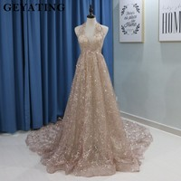 Sparkling Rose Gold Champagne Wedding Dress 2018 Sexy Halter Open Back Chapel Train Luxury Wedding Gowns