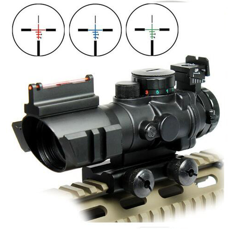 Airsoftsports Gun Riflescope 4x32 Rifle Scope Réticule Fibre Optique Sight Scope Rifle / airsoft Gun Chasse airsoftsports