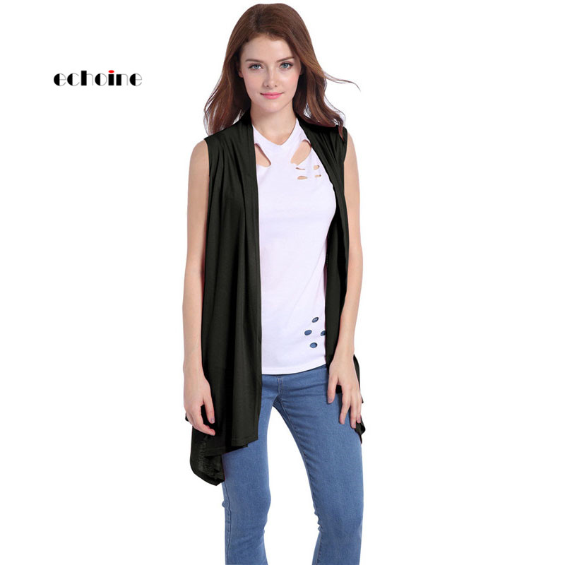 Echoine Women Vest Cardigan Coat Sleeveless Knitted Softly Bat Type Slim Outdoor Sportswear Jackets Fashion Female Outerwear