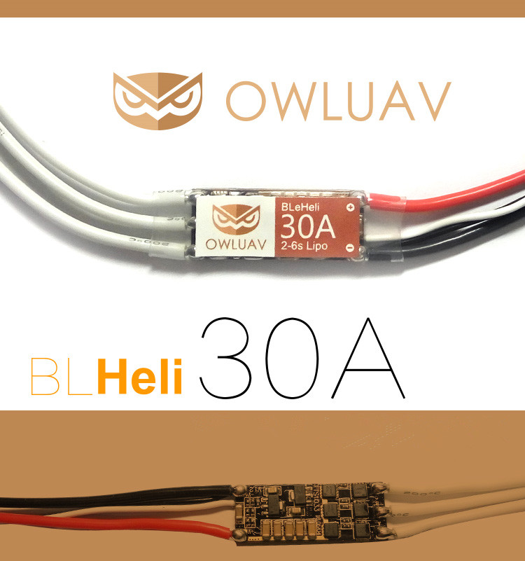 OWLUAV 2-6S BL Micro 30A Brushless ESC BLHeli BEC Electronic Speed Controller Integrated MOS for Quadcopter Multicopter RC Drone 4set lot universal rc quadcopter part kit 1045 propeller 1pair hp 30a brushless esc a2212 1000kv outrunner brushless motor