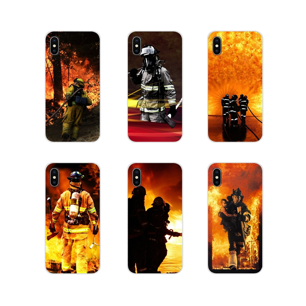 TPU Silicone Case For Samsung Galaxy S4 S5 MINI S6 S7 edge S8 S9 S10 Plus Note 3 4 5 8 9 Firefighter Heroes Fireman Fleece Panel