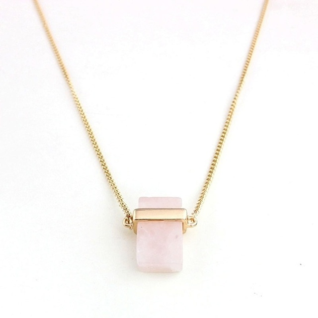 1daf8996116db Fashion Natural Stone Rectangle Rose Pink Crystal Quartz Pendant Chain  Necklace Jewelry Gift Hot Sale. 3 orders