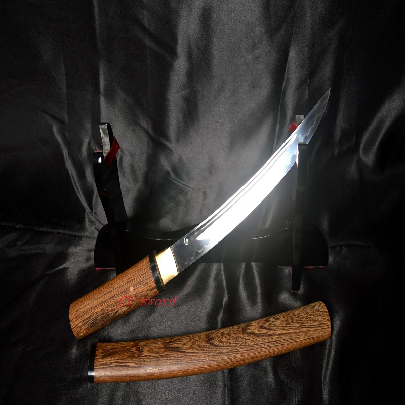 Ձեռագործ Clay Tempered T10 Steeljapanese Tanto Sword Carved Blade Hualee Sheath