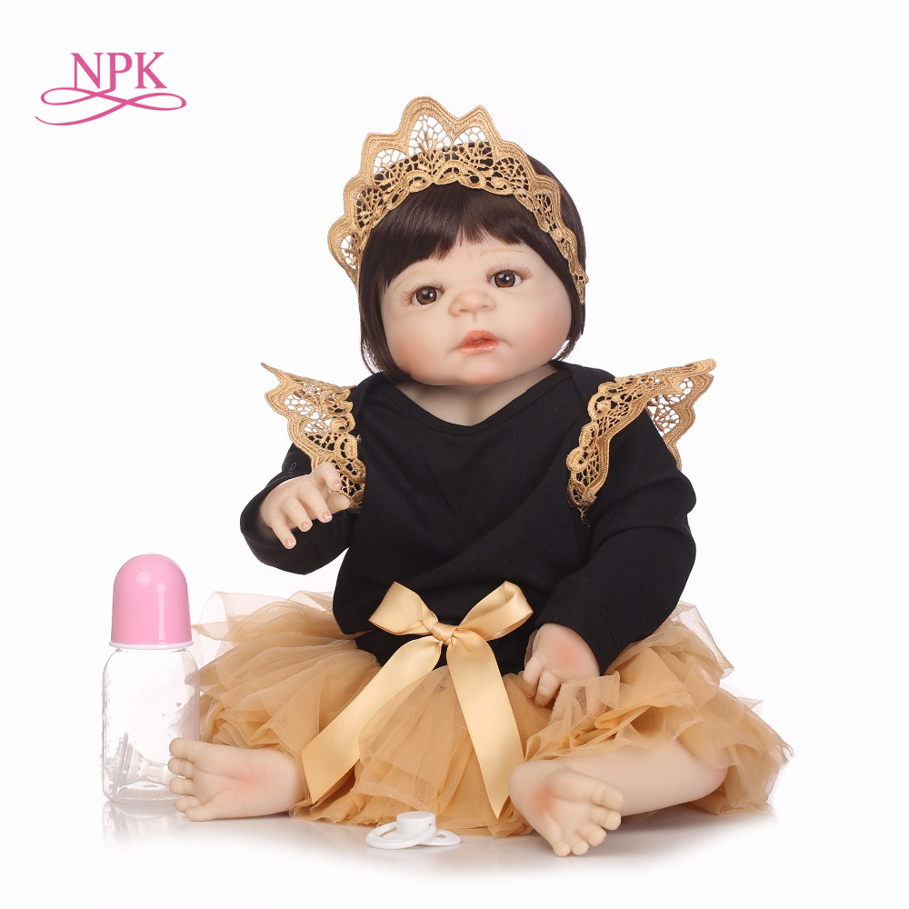 NPK 55CM Real Full Body Silicone Girl Reborn Baby Doll Toy Babies Princess Dolls Bebes Reborn