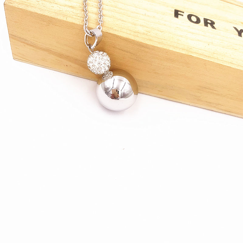 Silver Round Dainty Jingle Ball Mom and Baby Jewelry Pregnancy Mex Charming Bola Necklace(China)
