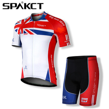 Spakct Cycling Suits Short Jersey Short Sleeves & Bicycle Shorts- World Cup England Bike Shorts & Pad Cycling Clothing Red
