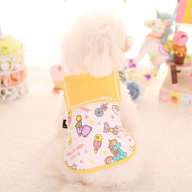 DOGGYZSTYLE Pet Dogs Vest for Dog Cotton Clothes Puppy Cartoon Print Cute Student T-shirts Pet Apparel for Chihuahua Teddy