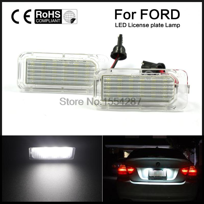 2pc 18-SMD LED License Plate Light Lamp Fit for Ford Mondeo Focus 5D Error Free 2x 18 smd led license plate light module for ford focus da3 dyb fiesta ja8 mondeo mk4 c max s max kuga galaxy