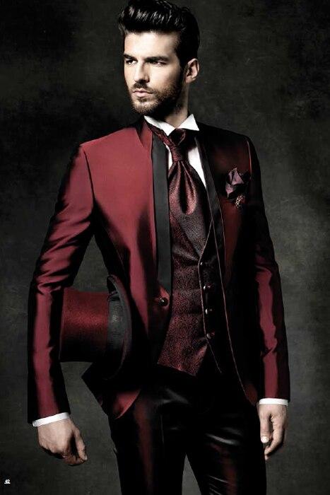 2018 Nouveau Design Italien Bourgogne Satin Hommes Costume Slim Fit Hombre De Mariage Costumes Dîner Smoking Sur Mesure 3 pièces Costumes Hommes terno