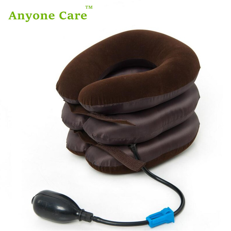 Top selling Anyone Care Three-layer Half flannel Cervical Traction Home use Air inflatable Neck Pain Relieve Retractor good gift for your family home use over door cervical traction set for fast and easy to relieve neck shoulder pain