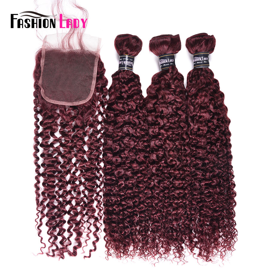 Fashion Lady Pre-colored Brazilian Curly Hair 3 Bundles With Lace Closure 99j# Human Hair Weave Bundles With Closure Non Remy