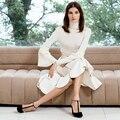 Designer de estilo britânico 2017 mulheres outono inverno moda ruffled flare mangas compridas de malha camisola do pulôver + zipper saia terno trabalho