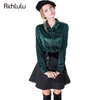 RichLuLu Apparel New Spring Fashion Long Sleeve Suede Blouse Vintage Elegant Pockets Shirt Tops Ladies Tie Front Blouse