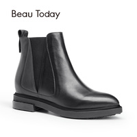 Beau Genuine Leather Chelsea Boots Women Fashion Square Toe Elastic Band Pointed Toe Ankle Calf Leather