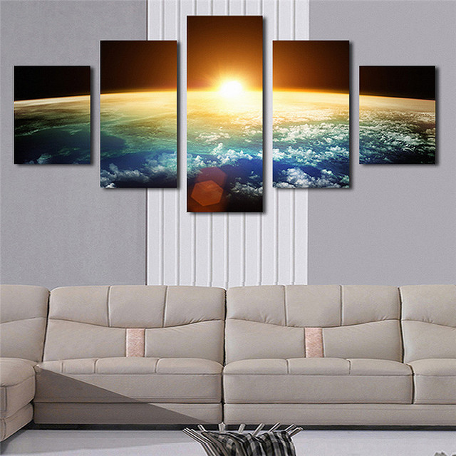 hd printed painting large poster 5 panel planet landscape canvas