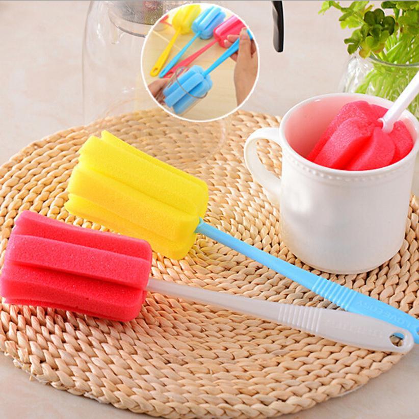 3PCS Kitchen Sponge Cleaning Brushes Long Handle Household Tool Sponge Brush For Wineglass Bottle Coffe Tea Glass Cup D1206