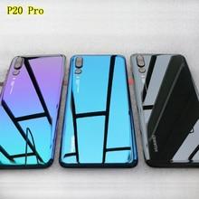 Nieuwe Gehard Glas Achterkant Voor Huawei P20 Pro Onderdelen Back Battery Cover Deur Behuizing + Camera Frame + flash Cover