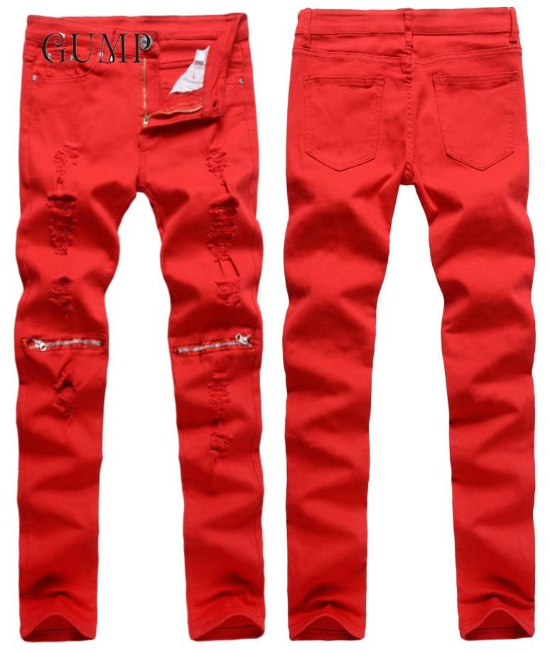 Fashion Brand Designer Men Ripped Jeans Destroyed Hole Slim Denim Biker Chain Casual Skinny Ruched Jeans 28-38 destroyed slim fit biker jeans