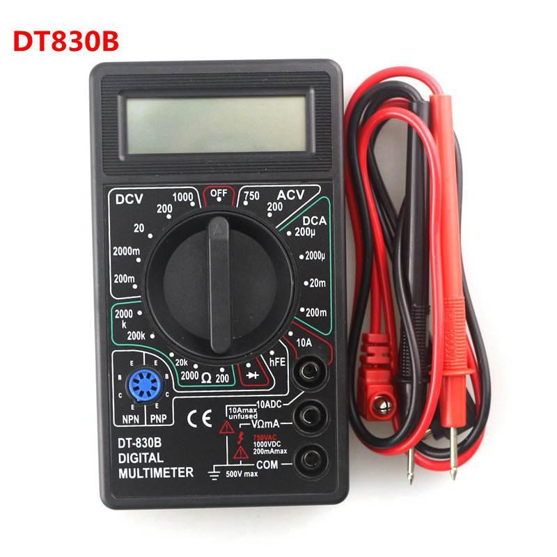 DT830B Digital Multimeter Voltmeter Ammeter Ohmmeter DC10V~1000V 10A AC 750V  Current Tester Test Leads Overload LCD Display