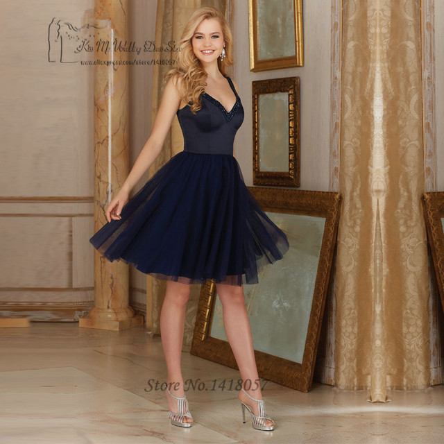 Fancy Navy Blue Bridesmaid Dress Short Beaded Wedding Guest Dresses 2017  Imported China Party Prom Gowns Vintage for Weddings fc16a24f1e78