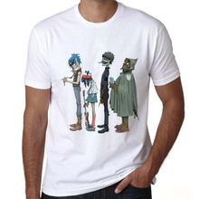 mens summer clothes 2016 gorillaz t shirts design shirts prints gorillaz music funny high quality white short sleeve t shirts