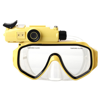 Adults Waterproof HD 720p Digital Wide Angle Video Camera Camcorders Diving Mask with Adjustable Belt LED Light Swimming Use