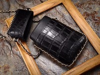 100% genuine crocodile skin belly leather women lady mobile phone case bag small cross body shoulder bag with strap
