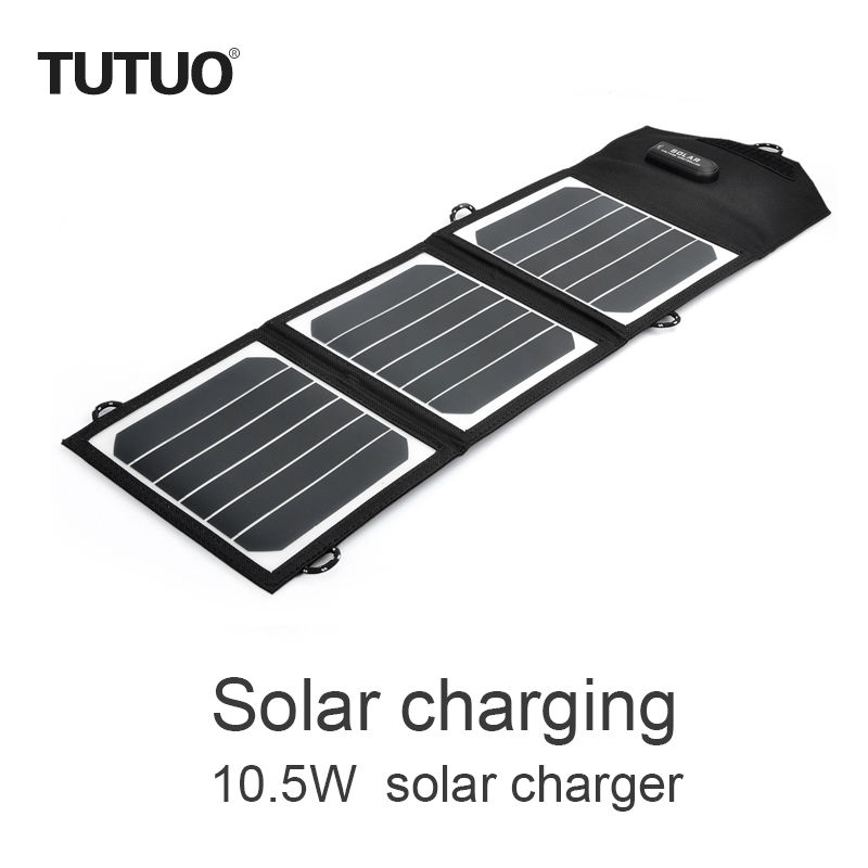 TUTUO 10 5W Sunpower Sun Source Foldable Smart USB Charger for Emergency Travel Mobile Phone Charger