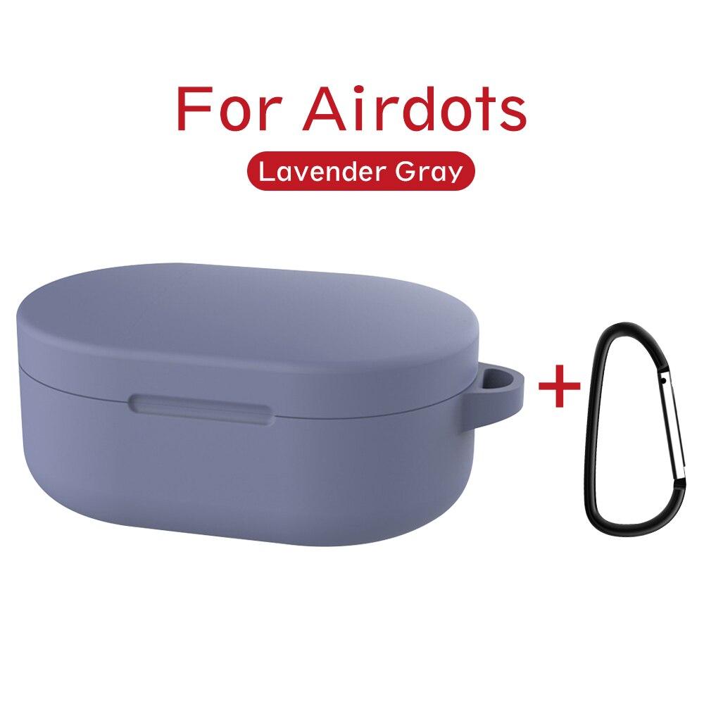 Силиконовый чехол с пряжкой для Red mi AirDots Air dots, чехол, беспроводной Bluetooth чехол s, мягкий ТПУ чехол - Цвет: Lavender Grey