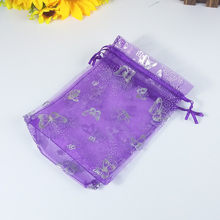 100 Pcs 10 * 12CM purple butterfly hot gold organza gift bag net sandbag hot silver candy bag wedding party gift bag 5ZDZ29-T(China)