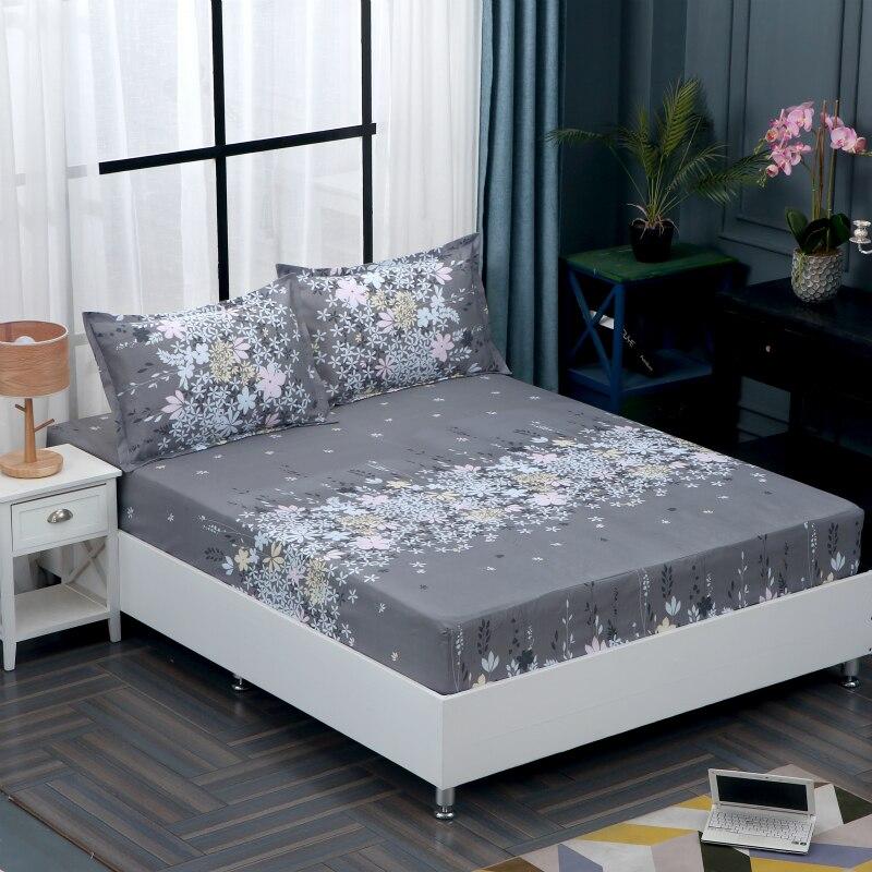 Adaptable Hyha Eenvoudige Polyester Slaapkamer Matrashoes Effen Kleur Bloemen Gedrukt Hoeslaken Bed Protector Pad Bedsheet Couvre Lit