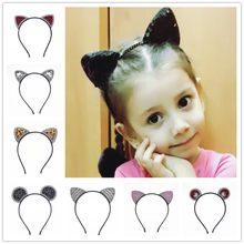 11colors of fashion can be heard hairband girl sexy sequins cat ears cat hair accessories for women of the party 1pcs(China)