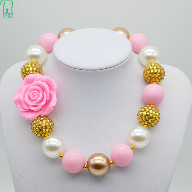 Baby S Resin Pink Rose Flower Necklace 2017 Kid Children Chunky Bubblegum Necklaces Princess Costume Jewelry On Aliexpress Alibaba Group