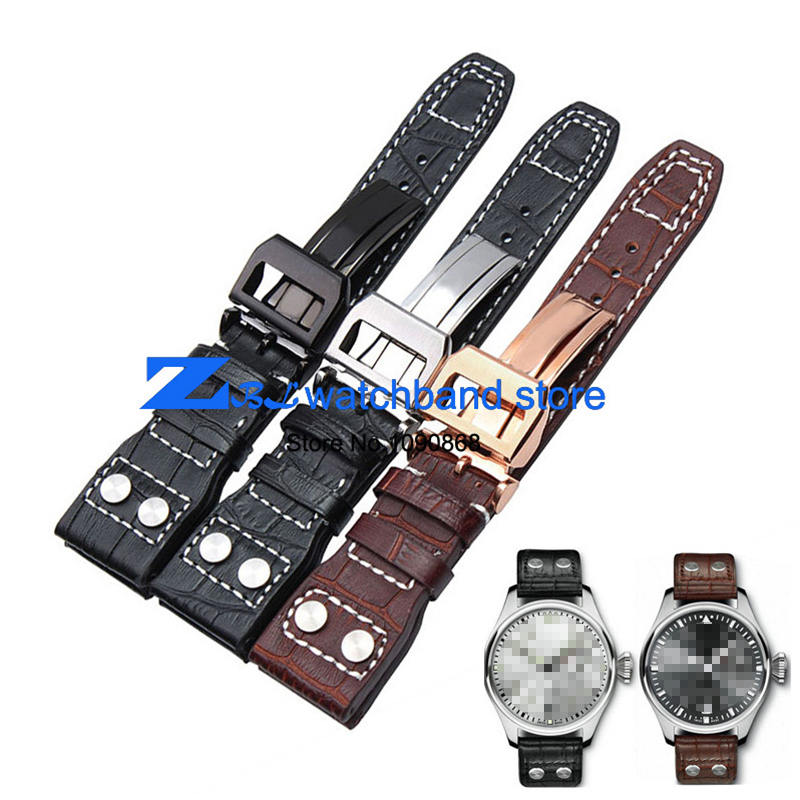 все цены на  High quality  Genuine leather watchband 22mm Brown Black Wrist watch band strap wristwatches stitched belt Folding clasp men  в интернете