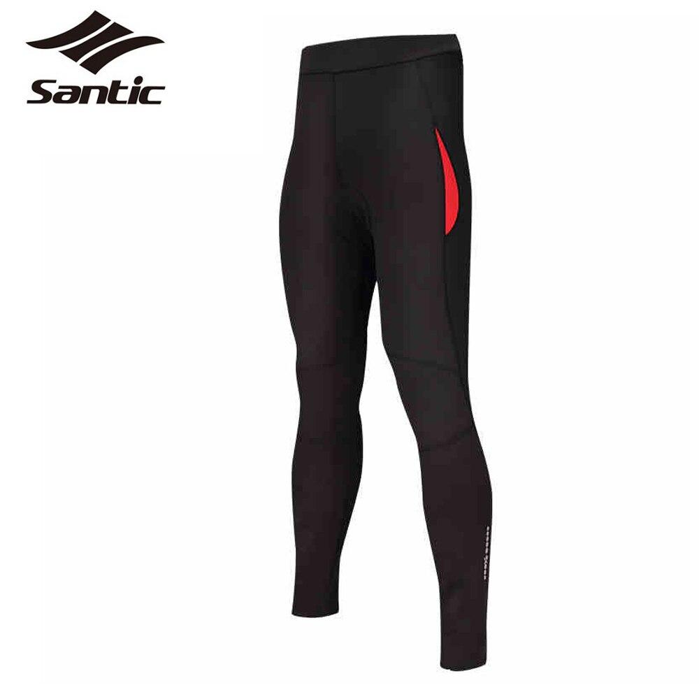 Santic Womens Winter Thermal Fleece Cycling Pants Long Length 4D Padded Bicycle Pants Elastic Cycling Tight Bike Pants Wear